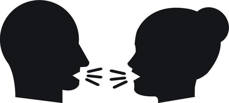 Human head communication speaking, argument vector icon