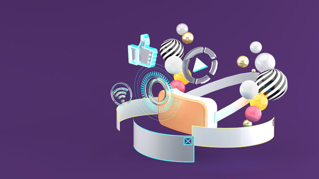VR is surrounded by browsers, Wi-Fi icons, play icons on a purple background.-3d rendering.