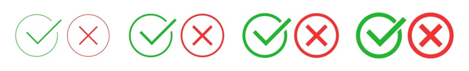 Check Mark Cross Circle Icon Green Red   Checkmark Checklist Illustration   Tick X Symbol   Voting Logo   Positive Negative Sign   Isolated   Variations Fototapete