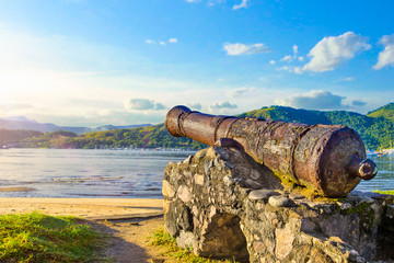 Historical cannon used to combat pirates at Paraty, Rio do Janeiro, Brazil. Fotomurales