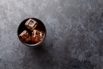 Class of cola with ice cubes