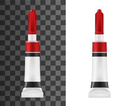 Super glue tube realistic vector mockup. Adhesive white package with red and black stripes, universal super glue in metal tube, container with long tip and protective cap mockup