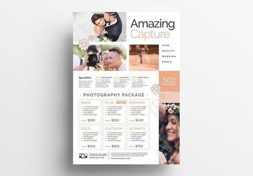 Wedding Photography Poster Layout with Pricing List