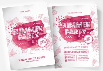 Summer Poster Layout with Pink Pineapple Illustration