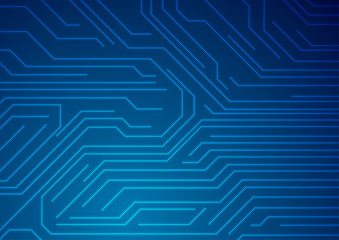 Fotobehang - Abstract glowing blue tech circuit board lines futuristic background. Vector illustration
