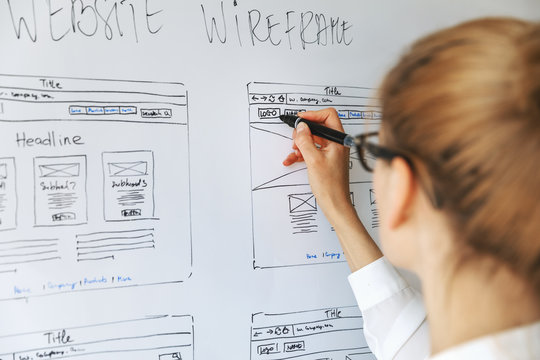 UI UX designer drawing new website wireframe