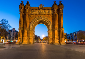 Triumph Arch in Barcelona at dusk