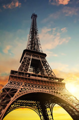 Sunset over Eiffeil Tower in Paris