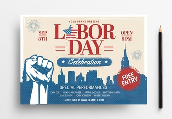 Labor Day Flyer Layout with Clenched Fist Illustration