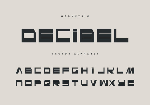 Decibel font design. Retro futurism  style. Minimal vector alphabet.