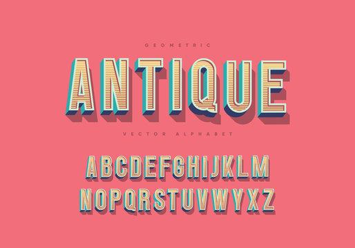"""Antique"" thin retro font. Trendy 3d alphabet. Eps10 vector."