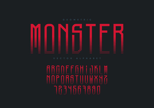 Monster font design. Horror style geometric alphabet and numbers. Eps10 vector.