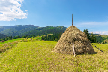 idyllic rural landscape on a sunny summer day. idyllic rural. hay stack on the field. wonderful countryside in mountains beneath a blue sky with fluffy clouds