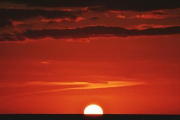 Foto auf AluDibond Rot kubanischen Silhouette Landscape At Sunset