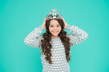 Ready for prom night. Happy child wear prom crown. Prom girl blue background. Coronation party. Holiday celebration. Pride and glory. Prestige and fame. Prom fashion and beauty