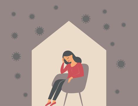 The psychological impact of coronavirus quarantine lockdown. Woman sitting alone inside her house, feeling stress emotion, depression.
