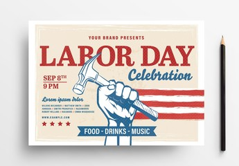 Labor Day Flyer Layout with Hand Holding Hammer and American Flag