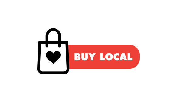 Buy local, support small business sticker. Popular Social Media design. Vector file.