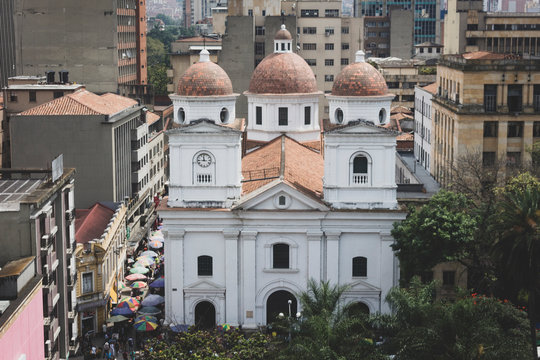Medellín, Antioquia / Colombia. November 22, 2018. Minor Basilica of Our Lady of the Candlemas is a temple of catholic cult dedicated to the Virgin Maria under the invocation of the