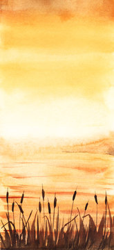Beautiful watercolor landscape in warm orange tones. Glowing sunset sky merging with water surface, dark silhouettes of cattail in front view. Hand drawn summer illustration full of shine and romance