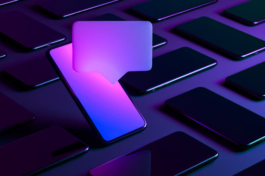 Blank Message Notification. Speech Bubble on Mobile Phone With Multicolored Screen. Social Media Concept and Online Communication. 3d rendering