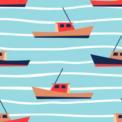 Boat pattern for summer vacation vibes. Nautical seamless background. Sailboat design. Vector