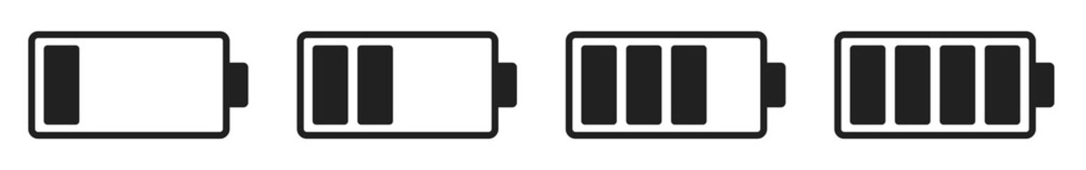 Vector battery icon set.Vector icon collection design battery level indicators. Set of battery charge level indicator symbol vector