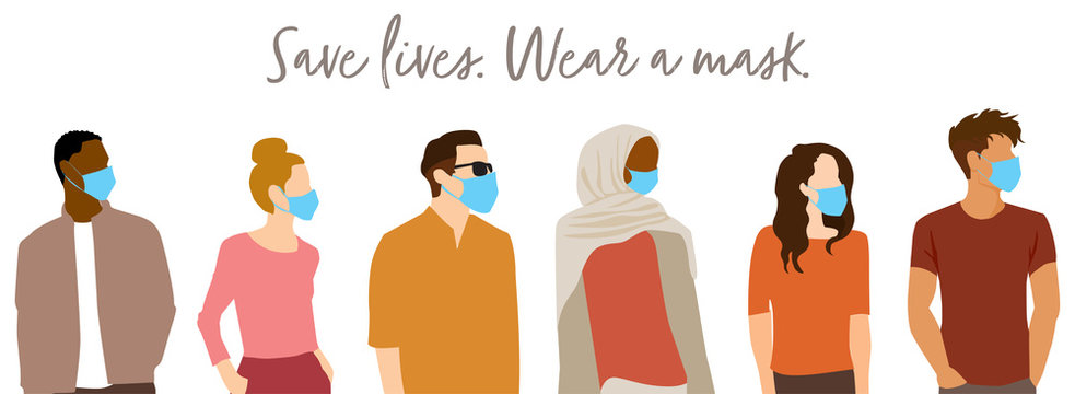 """Save Lives"" COVID-19 concept - group of people wearing protective face masks to stop spread of coronavirus Flat style vector illustration"