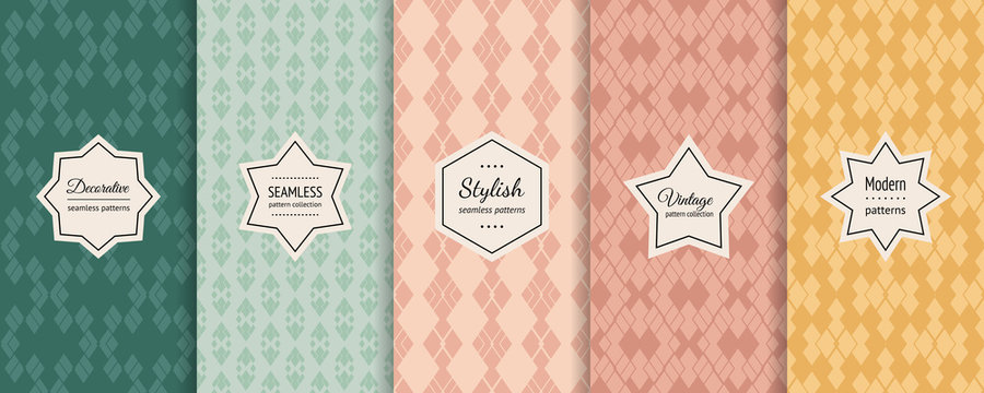 Retro seamless patterns collection. Vector geometric backgrounds with modern labels. Set of abstract vintage ornaments. Simple old style textures in pastel colors, mint green, teal, soft pink, yellow
