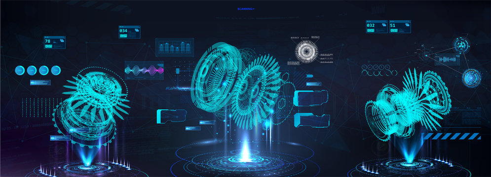 Head up display (HUD) with holograms 3D models parts. Turbine aircraft set with futuristic user interface. Engineering x ray mechanisms  with infographics and data. GUI, UI design. Vector HUD set