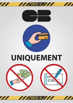 """affiche pour le paiement uniquement en carte bleue """"CB"""" pas d'espèce ni de chèque sur un fond gris en dégradé"""