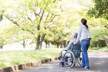 介護イメージ 車椅子シニアとヘルパー後姿