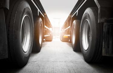 semi truck trailer on parking, road freight truck transport