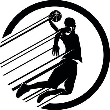 Leaping Slam Dunk Basketball Player