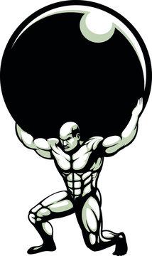 Greek Titan God Atlas Carrying Globe