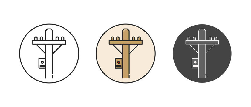 Electric power pole icon set. In different style. Outline thin line flat illustration. Isolated.