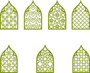 vector illustration of a set of islamic art