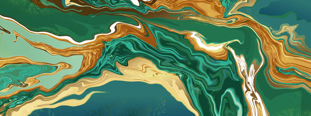 Fotobehang - Green emerald marble and gold abstract background texture. jade and Turquoise marbling with natural luxury style swirls of marble and gold powder.  21:9 Wallpaper design vector.