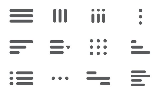 Minimal hamburger menu set. UI design elements with round corners. Website navigation icon for apps