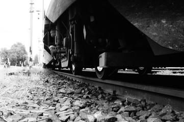 Spoed Fotobehang Spoorlijn Close-up Of Train On Railroad Tracks