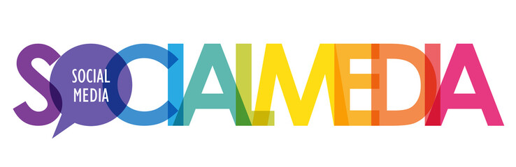 Zelfklevend Fotobehang Positive Typography SOCIAL MEDIA colorful gradient vector typography with speech bubble symbol