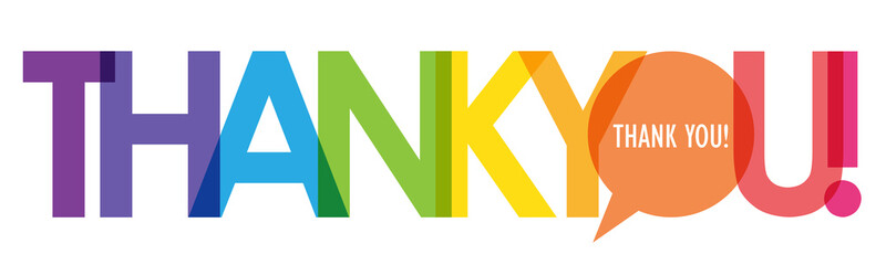 Zelfklevend Fotobehang Positive Typography THANK YOU colorful gradient vector typography with heart symbol