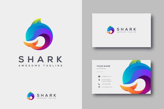 Modern geometric golden ratio Shark logo icon and business card template