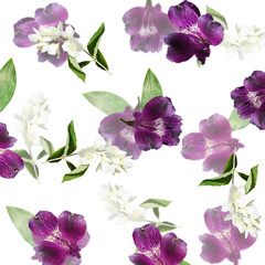 Beautiful floral background of Alstroemeria and Jasmine. Isolated