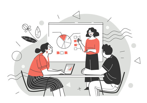Business training, professional development of employees. Concept of meeting, presentation, annual report. Presentation for colleagues. Vector illustration