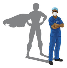 A nurse or doctor super hero in surgical or hospital scrubs with stethoscope and mask PPE. With arms folded and serious but caring look. Revealed as a superhero by the shape of his shadow.
