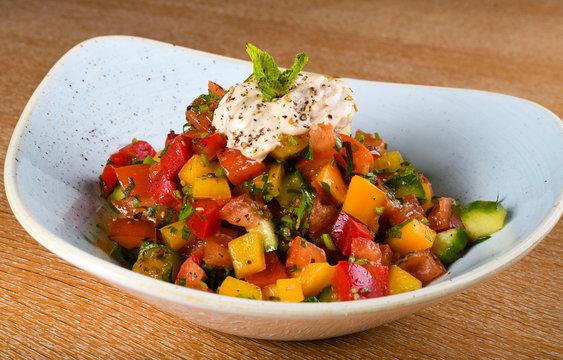 Flexitarian salad. A semi-vegetarian diet, also called a flexitarian diet