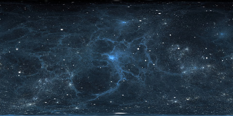 360 degree interstellar cloud of dust and gas. Space background with nebula and stars. Glowing nebula. Panorama, environment 360° HDRI map. Equirectangular projection, spherical panorama