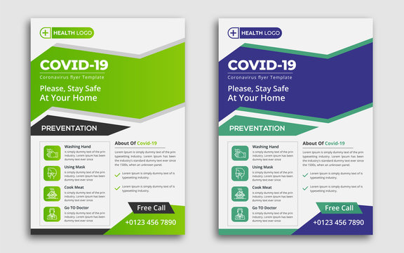 COVID 19 Prevention Flyer Template Green and Blue