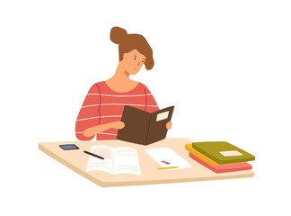 Serious-minded student preparing to exam reading book vector flat illustration. Pupil girl sitting on desk holding textbook isolated on white background. Focused colorful person doing homework